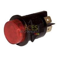 Interrupteur - Modèle pour UNICAL et JOANNES - JOANNES : 730305, Dimensions Lg:Ø25 Fonction:à Poussoir lumineux, Couleur Cadre:noir Couleur Touche:rouge, Caract:16A(4) 250V - Référence :