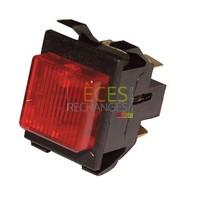 Interrupteur lumineux - Modèle pour AECC, Dimensions Lg:22x30,Couleur Cadre:noir Couleur Touche:rouge, Caract:10A(4) 250V - Référence :
