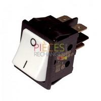 Interrupteur - Modèle pourFERROLI bipolaire, Dimensions Lg: 22x30, Fonction: marche/arrêt, Couleur Cadre Noir, Touche: blanche, Caract: 16A(4) 250V - Référence :