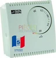 Fonctions Principales : Thermostat mécanique filaire pour réglage de la température ambiante en climatisation  ou en Chauffage Dimensions (mm) : Hauteur 82mm Largeur 75mm Profondeur 31mm Contact sec Inverseur : 10A/230V Plage de réglage : 6 à 30°C Plage d'affichage : 10 à 30°C Différentiel statique : 0,8-0,2°C Verrouillage du réglage de la température Remplace DELTA 2 et DELTA 2V - Référence :