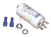 Condensateur standard permanant 3.15 µF ( Ø30 xLg60 xHors tout 84 ) Livré avec2 cosses faston à sertir 6.5, 1 écrou pour Fixation, Tube PVC - Référence :
