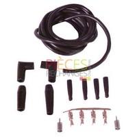 Câble Haute Tension  standard - Kit Fil HT PVC - comprenant : 4 cosses à sertir Ø 4mm- 4 cosses à visser- 4 capuchons - Cables PVC lg 2m Ø 6mm - 2 Connecteurs isolés droit - 2 Connecteurs isolés équerre  - Référence :